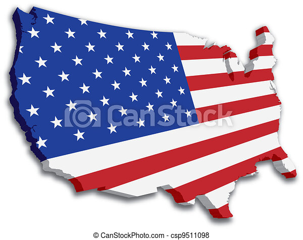 Vector Clipart Of Black White D USA State Map An US State Map - Us map logo