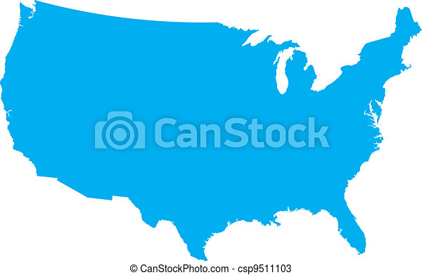 Blue USA country map - csp9511103