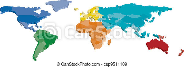 3D Color Continent and Country map - csp9511109