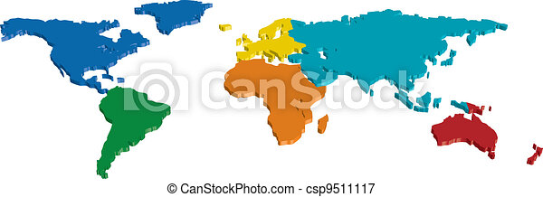 3D Color Continent and Country map - csp9511117