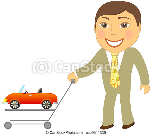 man with shopping cart and car cabr - csp9511339