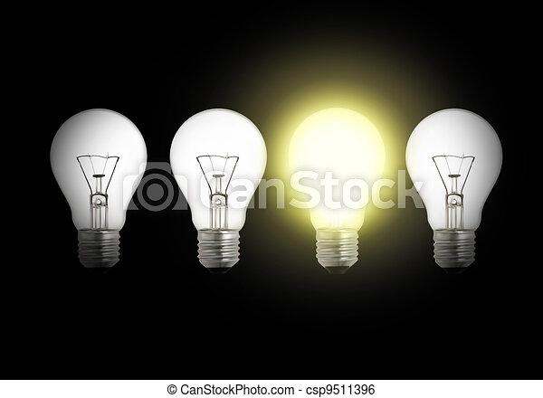 One lit light bulb amongst other broken light bulbs  - csp9511396