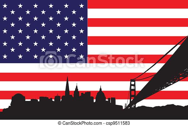 San Francisco Skyline and flag of U - csp9511583