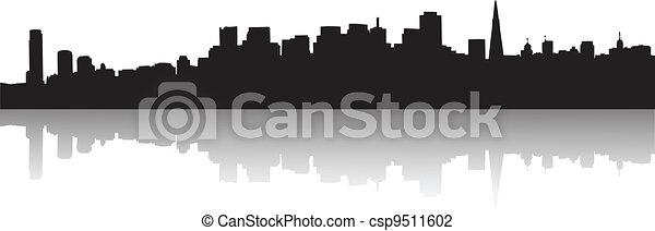 San Francisco Skyline Silhouette - csp9511602