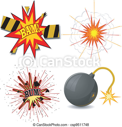 Vector illustration of a set of explosions - csp9511748
