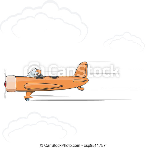 Vector illustration of a little cartoon of an airplane. EPS10 - csp9511757