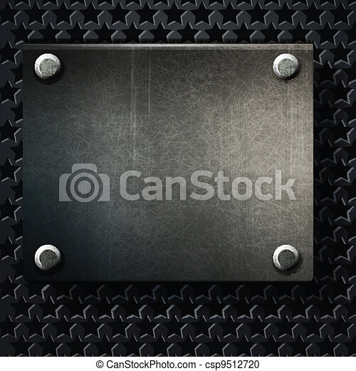vector grunge background metal plate with screws - csp9512720