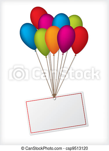 Birthday ballons with editable white label - csp9513120
