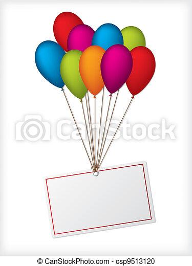 Birthday ballons with editable white label - csp9513120