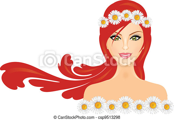 woman with red hair and daisy crown - csp9513298