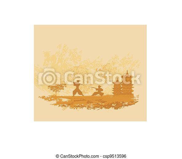 Samurai silhouette in Asian - csp9513596