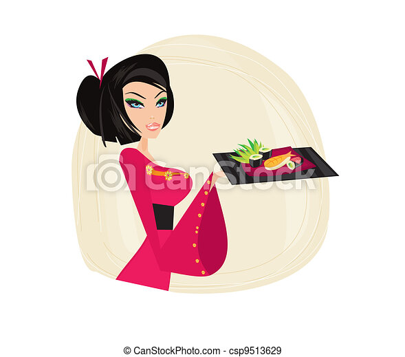 Asian girl enjoy sushi - csp9513629