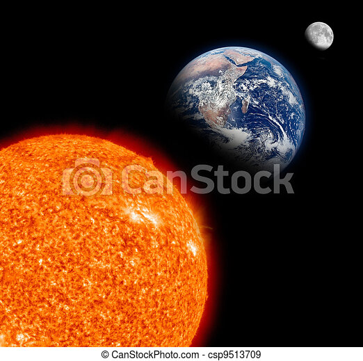 Sun system with The Sun, Earth and Moon - csp9513709