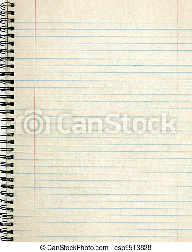 Old notebook page lined paper. - csp9513828