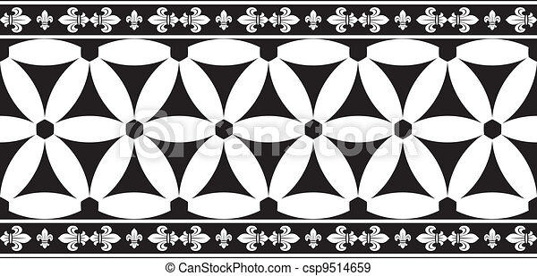 Seamless black-and-white gothic geometrical floral vector border with fleur-de-lis - csp9514659