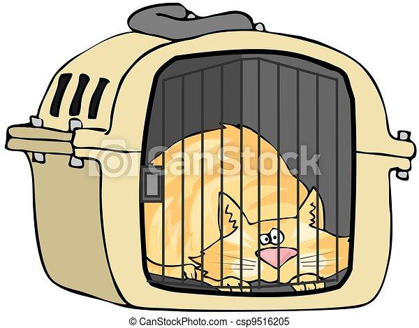 Cat In Pet Carrier - csp9516205
