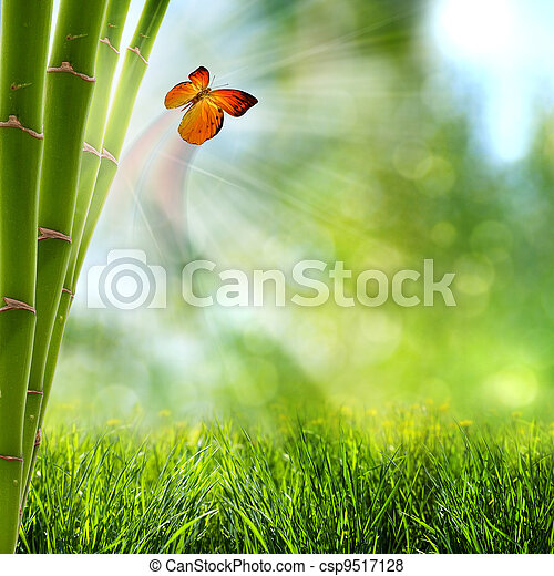 abstract summer backgrounds with bamboo forest and butterfly - csp9517128