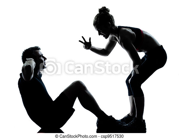 one couple man woman exercising workout fitness - csp9517530