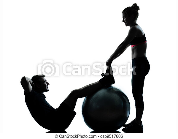 one couple man woman exercising workout fitness - csp9517606