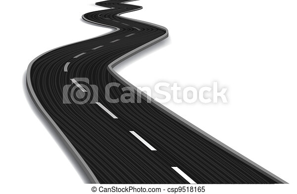 Curved road bridge. Vector - csp9518165
