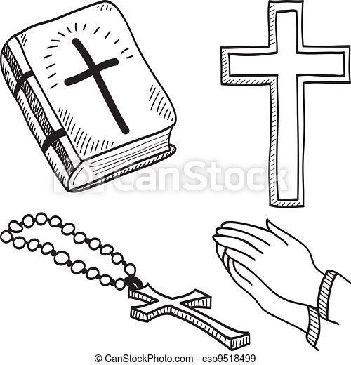 Christian hand-drawn symbols illustration - csp9518499