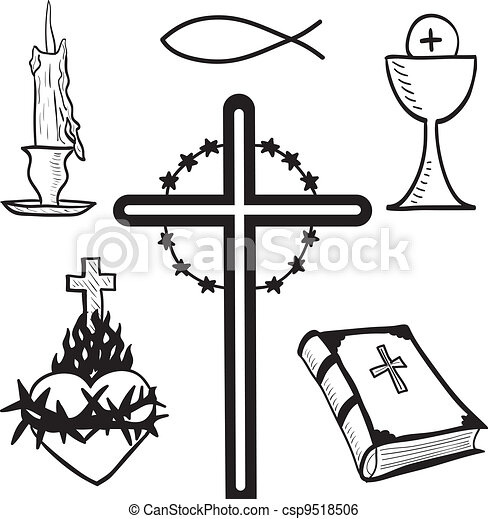 Christian hand-drawn symbols illustration - csp9518506