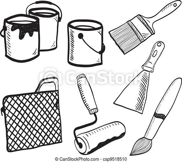 Painting accessories hand-drawn illustration - csp9518510