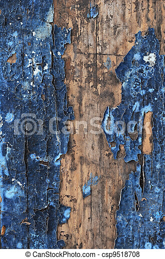 Obsolete weathered cracked painted wood grunge background  - csp9518708