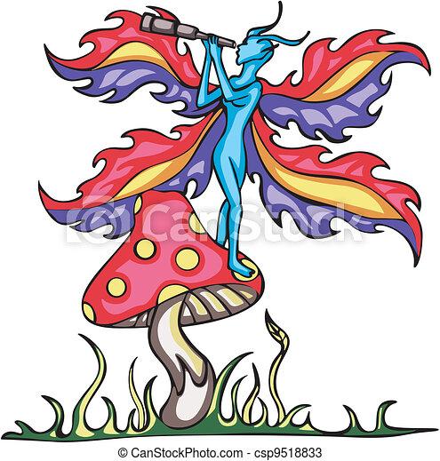 Fairy elf on mushroom with monocular tube - csp9518833