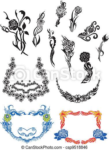 Flower Art Nouveau Patterns - csp9518846
