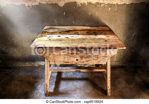 Antique wood table - csp9518924