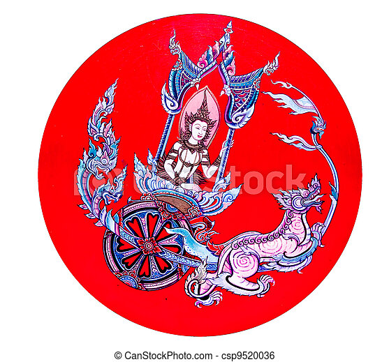 The Painting of deva isolated on white background. This is traditional and generic style in Thailand. No any trademark or restrict matter in this photo. - csp9520036