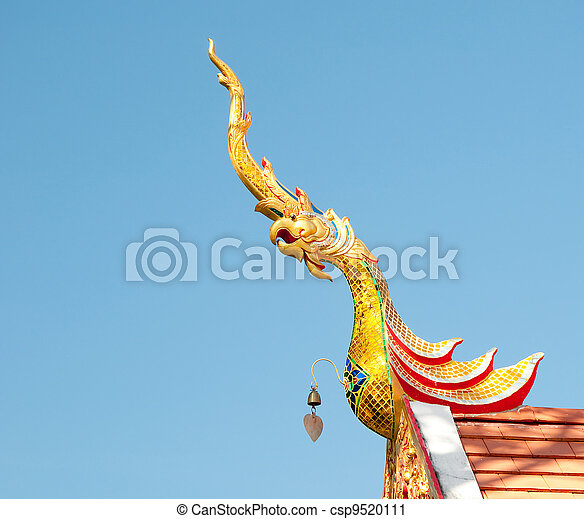 The Gable apex  of temple on blue sky background - csp9520111