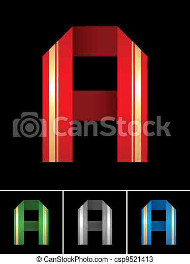 ABC font from coloured set paper ribbon-Latin letter A - csp9521413