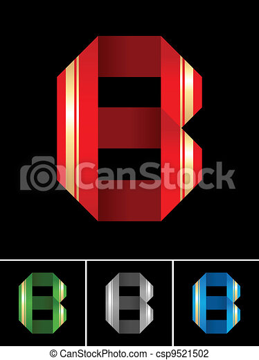 ABC font from coloured set paper ribbon-Latin letter B - csp9521502