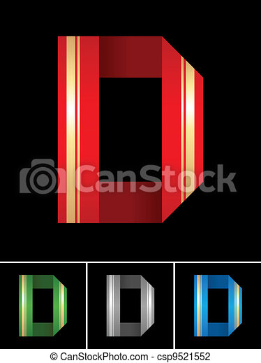 ABC font from coloured set paper ribbon-Latin letter D - csp9521552