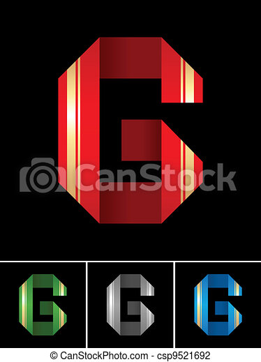 ABC font from coloured set paper ribbon-Latin letter G - csp9521692