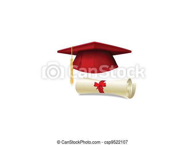 Graduation cap and diploma - csp9522107