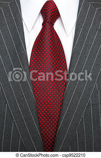 Grey pinstripe suit and tie - csp9522210