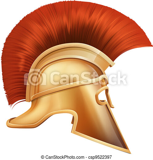 Spartan helmet illustration - csp9522397