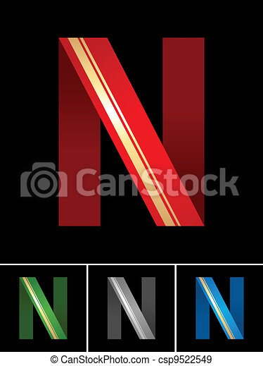 ABC font from coloured set paper ribbon-Latin letter N - csp9522549