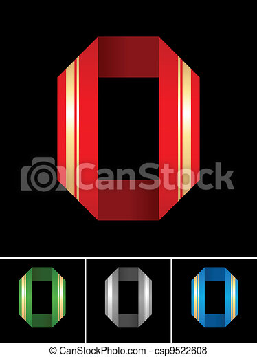 ABC font from coloured set paper ribbon-Latin letter O - csp9522608