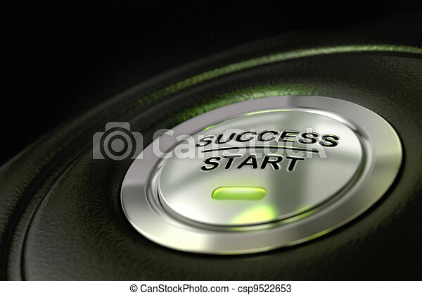abstract success start button, metal material, green color and black textured background. Focus on the main word and blur effect. successful concept  - csp9522653