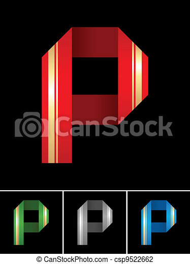 ABC font from coloured set paper ribbon-Latin letter P - csp9522662