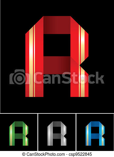 ABC font from coloured set paper ribbon-Latin letter R - csp9522845
