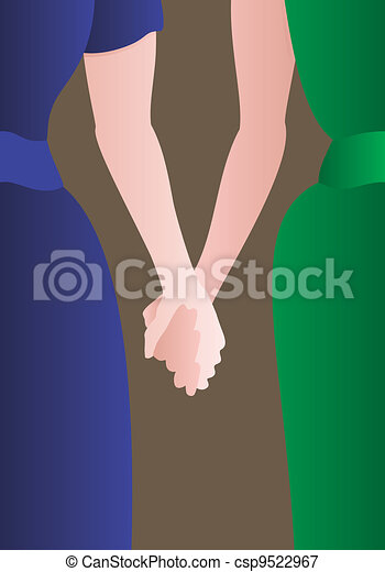 Female couple holding hands - csp9522967