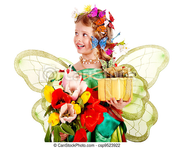 Child with flower and butterfly. - csp9523922