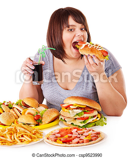Woman eating fast food. - csp9523990