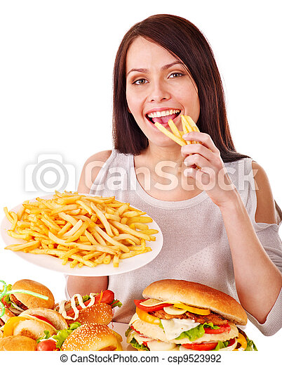 Woman eating fast food. - csp9523992