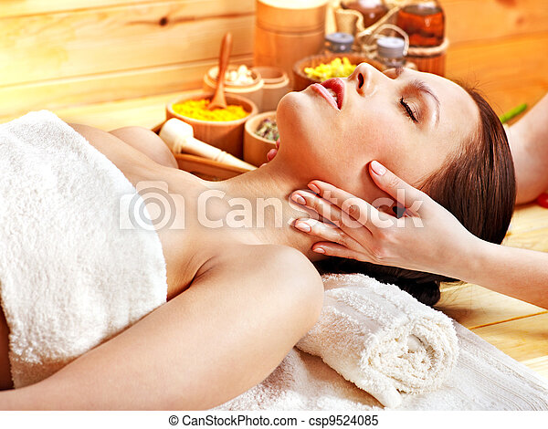 Woman getting  facial massage . - csp9524085